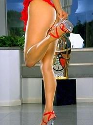 Foxes.com: AnnaMarie Goddard - Blonde Chick Red Negligee Kitchen