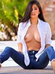 Megan Salinas rips off her shirt and unfathomable blue jeans - Digital Desire